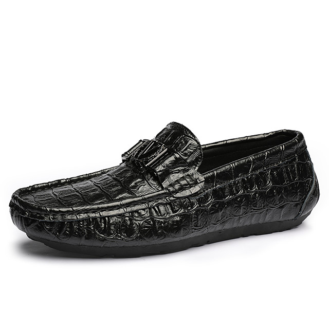 Men's Spring & Summer / Fall & Winter Classic / British Daily Outdoor Loafers & Slip-Ons Walking Shoes Leather / Patent Leather Breathable Wear Proof Black
