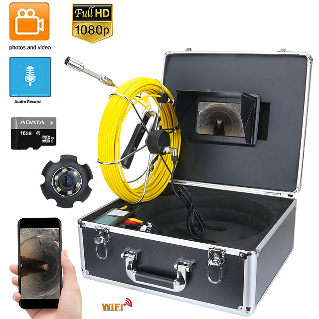 7inch DVR 30M HD1080P Drain Sewer Pipeline Industrial Endoscope Pipe Inspection Video Camera with DVR Video Recording / WIFI Wireless / Photo Editing