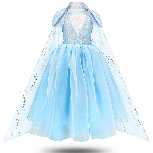 Princess Elsa Dress Flower Girl Dress Girls' Movie Cosplay A-Line Slip Blue Dress Children's Day Masquerade Tulle Polyester