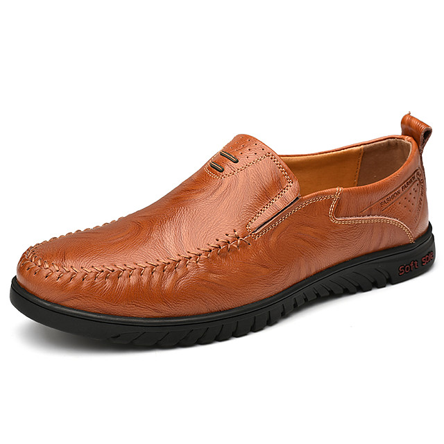 Men's Summer / Fall Classic / Casual Daily Office & Career Loafers & Slip-Ons Faux Leather Non-slipping Wear Proof Black / Yellow / Brown
