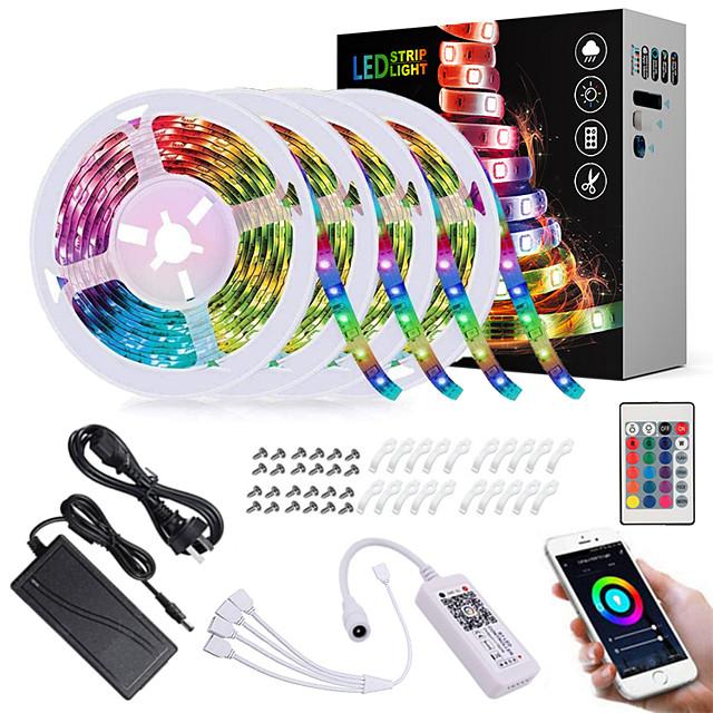 ZDM 20M(4*5M) LED Light Strips RGB Tiktok Lights App Intelligent Control Bluetooth Music Sync Waterproof Flexible 5050 SMD 600 LEDs IR 24 Key Bluetooth Controller with Installation Package 12V 6A Adap