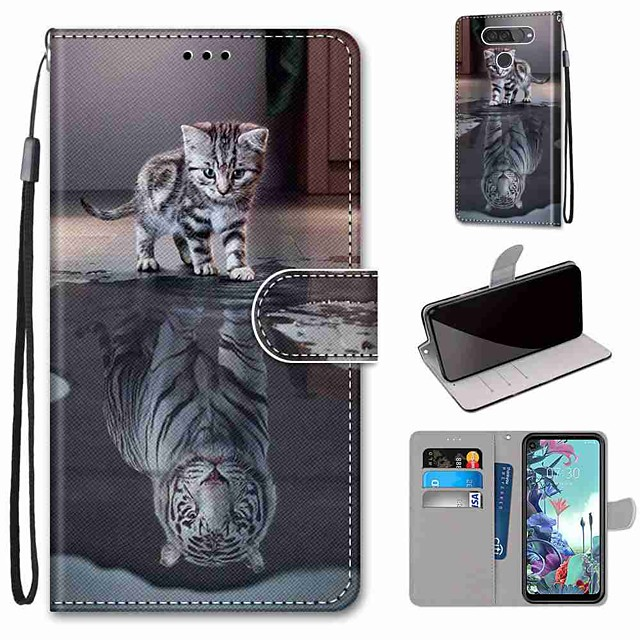 Case For LG Q70 / LG K50S / LG K40S Wallet / Card Holder / with Stand Full Body Cases Cat Becomes Tiger PU Leather / TPU for LG K30 2019 / LG K20 2019