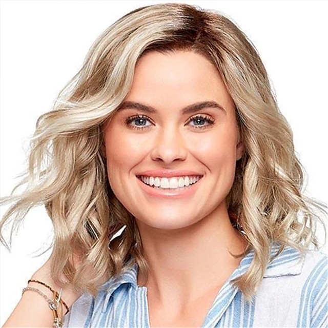 Synthetic Wig Curly Asymmetrical Wig Short Light Brown Synthetic Hair 12 inch Women's Life Classic Women Light Brown