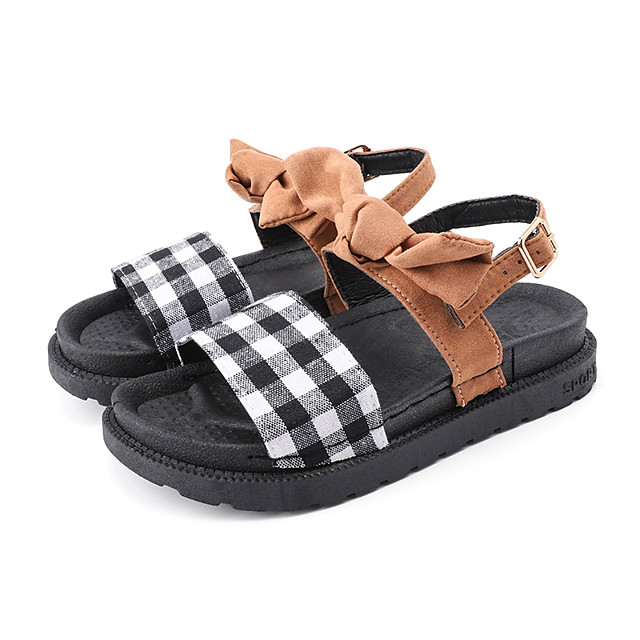 Women's Sandals Flat Sandal Summer Flat Heel Open Toe Casual Daily Outdoor Bowknot Canvas Black / Khaki