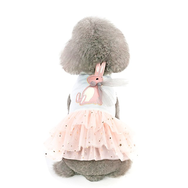 Dog Dress Animal Character Rabbit / Bunny Stylish Sweet Style Dog Clothes White Pink Costume Cotton XS S M L XL