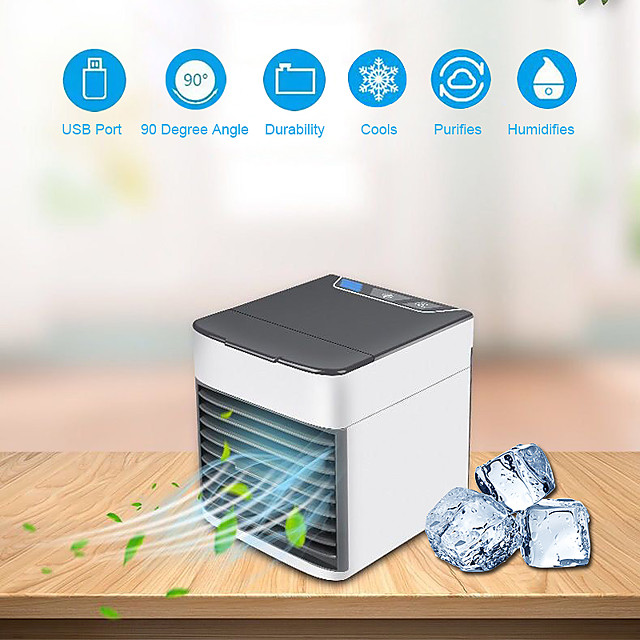 Mini Portable Air Conditioner 7 Colors Light Air Conditioning Humidifier Purifier USB Air Cooler Fan with Water Tanks for Home