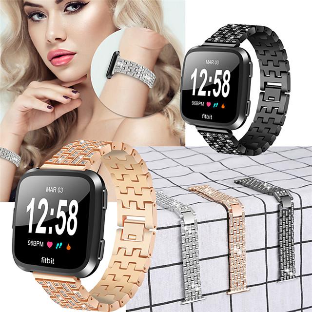 Luxurious Alloy Watch Band for Fitbit Versa 2 / Fitbit Versa / Fitbit Versa Lite Adjustable Replacement Smart Watchband Fashion Bracelet Sport  Strap for Fitbit Versa 2 / Fitbit Versa