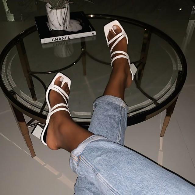 Women's Sandals / Slippers & Flip-Flops Summer Cuban Heel Open Toe Daily PU White / Black