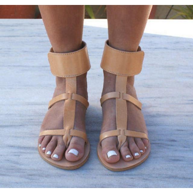 Women's Sandals Flat Sandals Flat Heel Open Toe Daily PU Summer Yellow / Gold / Silver