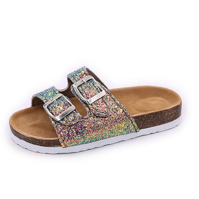 Women's Sandals Flat Sandal Summer Flat Heel Open Toe Daily PU Black / Pink / Green