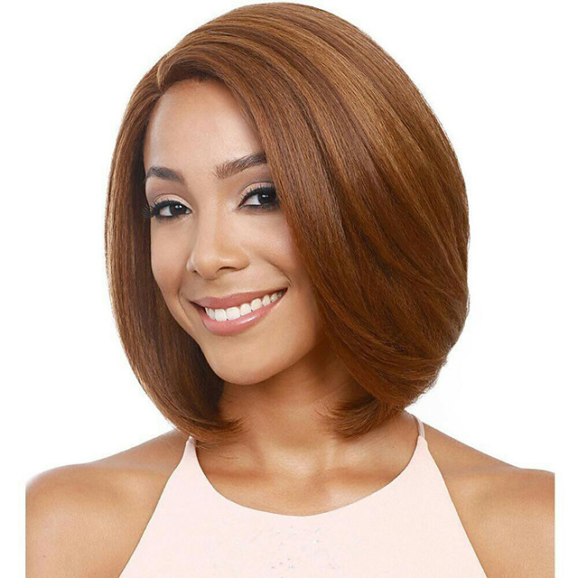 Synthetic Wig kinky Straight Asymmetrical Wig Short Light golden Light Brown Synthetic Hair 18 inch Women's Easy to Carry Women Easy dressing Blonde Light Brown
