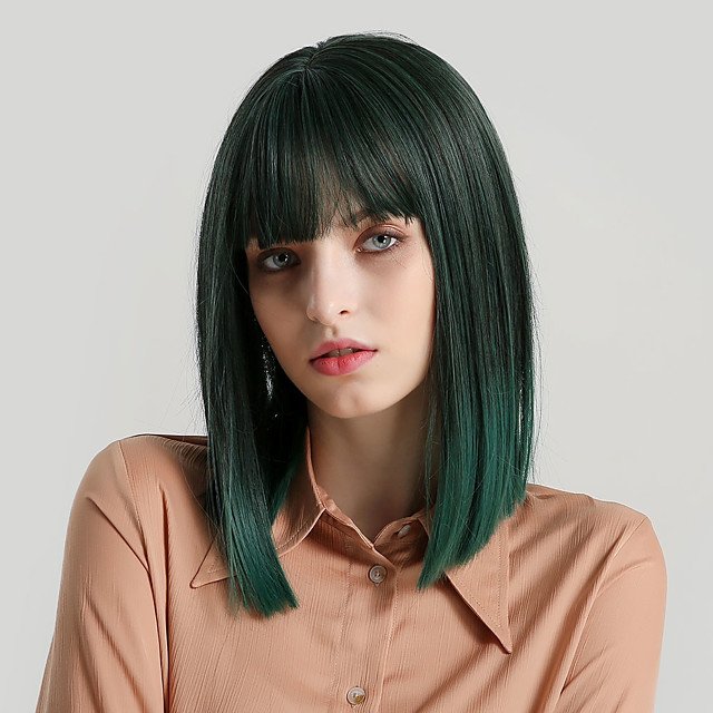 Synthetic Wig Bangs Natural Straight Side Part With Bangs Wig Medium Length Black / Dark Green Synthetic Hair 14 inch Women's Cosplay Women Synthetic Green HAIR CUBE / Ombre Hair