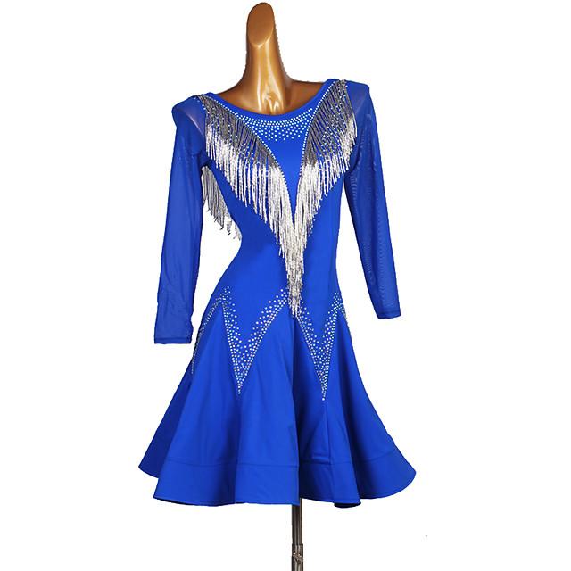 Latin Dance Dress Crystals / Rhinestones Women's Performance Long Sleeve Spandex
