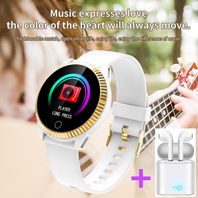 JSBP C19  Women Smart Bracelet Smartwatch BT Fitness Equipment Monitor Waterproof with TWS Bluetooth Wireless Headphones Music Headphones for Android Samsung/Huawei/Xiaomi iOS Mobile Phone