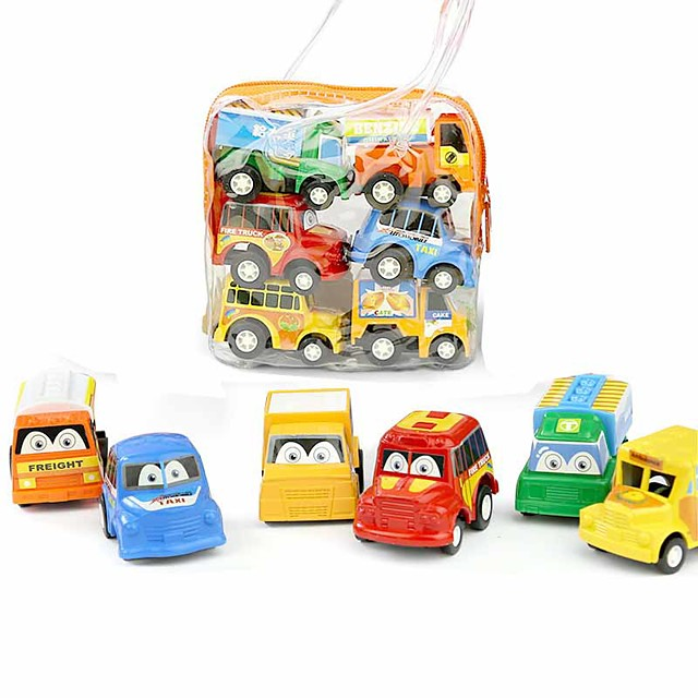 Toy Car Vehicle Playset Pull Back Car / Inertia Car Mini Truck Cartoon Toy Colorful Plastic Mini Car Vehicles Toys for Party Favor or Kids Birthday Gift MC0166 6 pcs