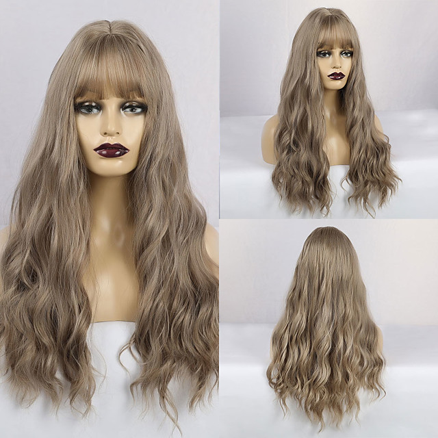 Synthetic Wig Matte Water Wave Middle Part Neat Bang Wig Long Grey Synthetic Hair 26 inch Women's Lovely Fluffy Dark Gray