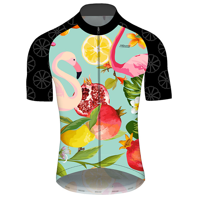 21Grams Men's Short Sleeve Cycling Jersey Spandex Polyester Green Skull Poker Bike Jersey Top Mountain Bike MTB Road Bike Cycling UV Resistant Breathable Quick Dry Sports Clothing Apparel / Stretchy