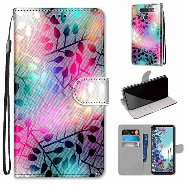 Case For LG Q70 / LG K50S / LG K40S Wallet / Card Holder / with Stand Full Body Cases Translucent Glass PU Leather / TPU for LG K30 2019 / LG K20 2019