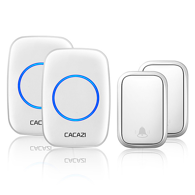 CACAZI Wireless No Battery Required Doorbell Transmitter Intelligent Home Self-powered Call Ring Bell US EU UK AU Plug Receiver