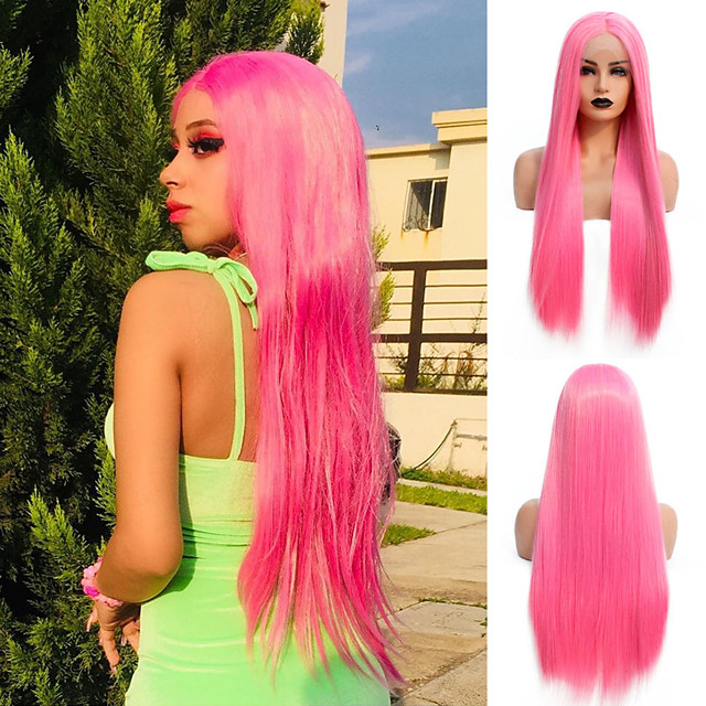 Synthetic Lace Front Wig Straight Gaga Middle Part Lace Front Wig Long Pink Synthetic Hair 22-26 inch Women's Heat Resistant Women Hot Sale Pink / Glueless