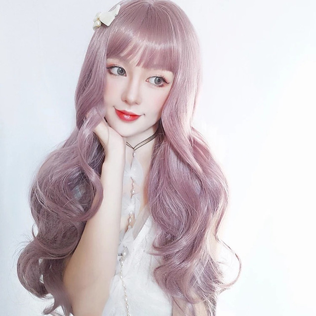 Synthetic Wig Curly With Bangs Wig Long Light golden Pink+Red Silver grey Synthetic Hair 18 inch Women's Women Easy dressing Lovely Pink Gray