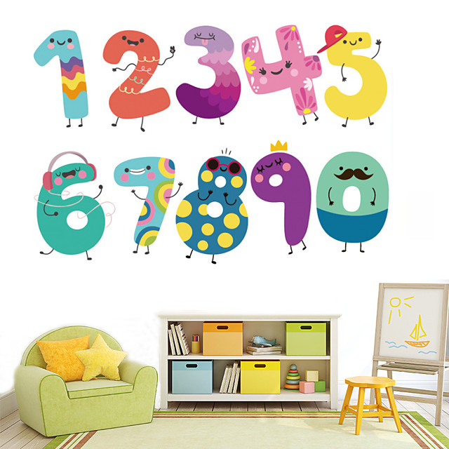 Cartoon Number Animals Wall Sticker Removable PVC Cute Numbers Art Decal For Children's Bedroom Diy Home Decer