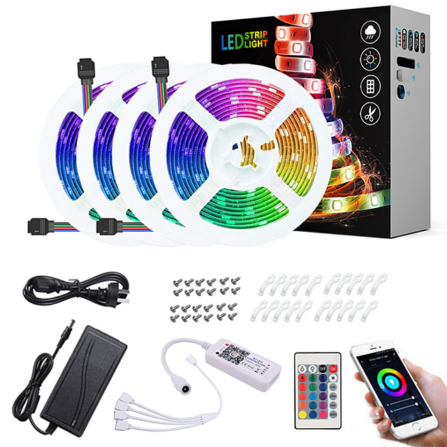 20M(4x5M) LED Light Strips RGB Tiktok Lights App Intelligent Control Bluetooth Music Sync Waterproof Flexible 5050 SMD 600 LEDs IR 24 Key Bluetooth Controller with Installation Package 12V 8A Adap