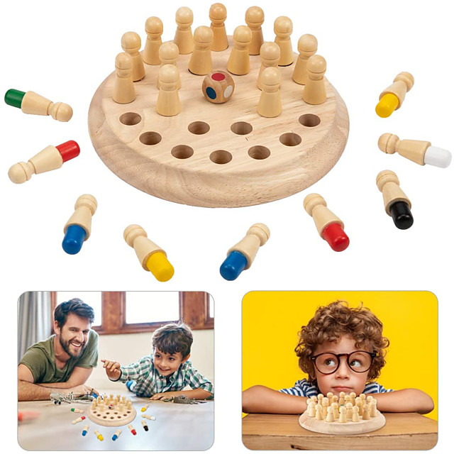 Board Game Educational Toy Wooden Memory Match Stick Chess Game Wooden family game Party Game Parent-Child Interaction Family Interaction Home Entertainment Kids Child's Boys and Girls Toys Gifts