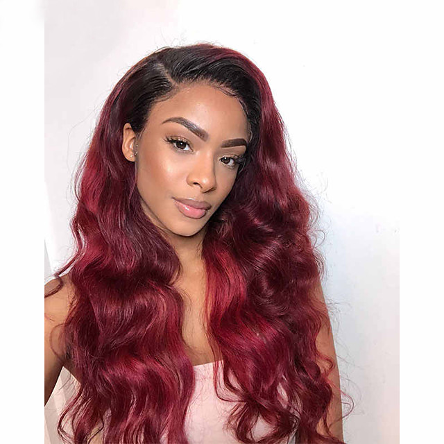 Remy Human Hair Lace Front Wig Free Part style Indian Hair Body Wave Red Wig 150% Density with Baby Hair Color Gradient Natural Hairline with Clip Women's Long Human Hair Lace Wig Premierwigs