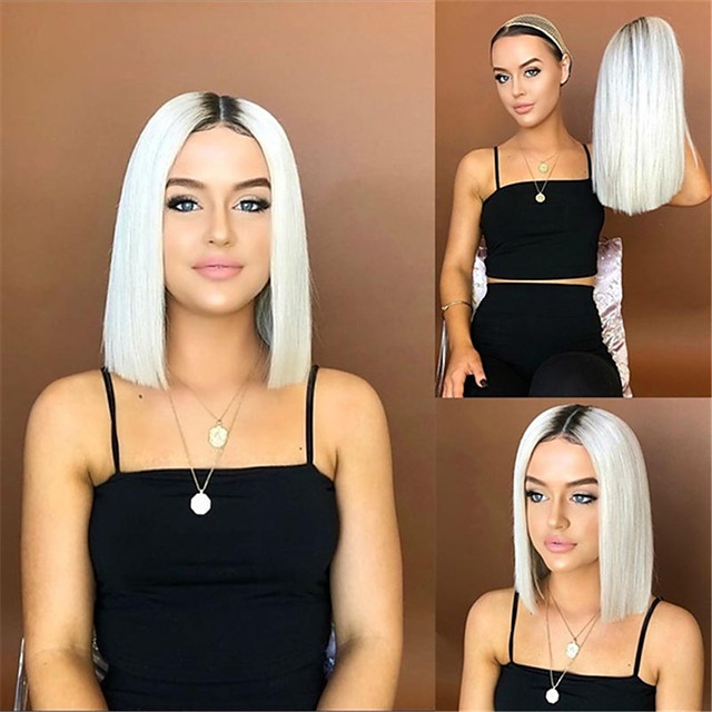Synthetic Wig Matte kinky Straight Middle Part Wig Long Creamy-white Synthetic Hair 14 inch Women's Fashionable Design Ombre Hair Middle Part White