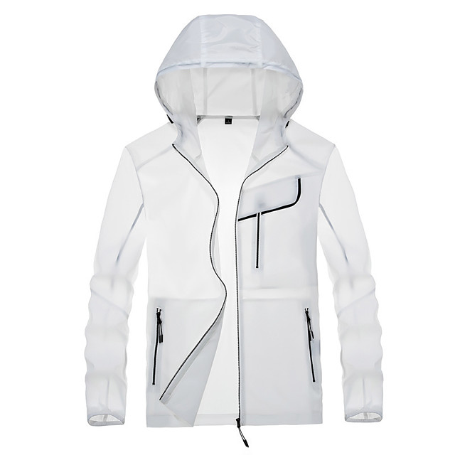 Men's Hiking Skin Jacket Hiking Jacket Summer Outdoor Waterproof Windproof Sunscreen Breathable Jacket Hoodie Top Spandex Running Hunting Fishing White / Grey / Blue / Quick Dry / Quick Dry
