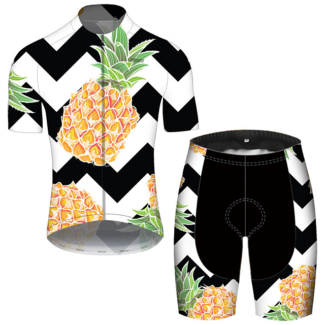 21Grams Men's Short Sleeve Cycling Jersey with Shorts Spandex Polyester Black / White Fruit Lemon Bike Clothing Suit UV Resistant Breathable 3D Pad Quick Dry Reflective Strips Sports Fruit Mountain