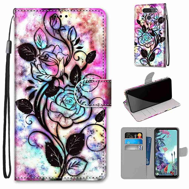 Case For LG Q70 / LG K50S / LG K40S Wallet / Card Holder / with Stand Full Body Cases Hollow Flower PU Leather / TPU for LG K30 2019 / LG K20 2019