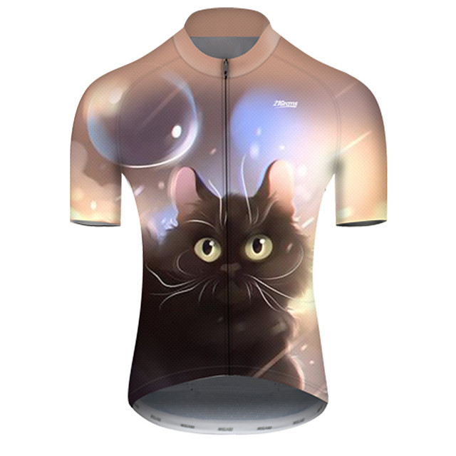 21Grams Men's Short Sleeve Cycling Jersey Nylon Polyester Black / Yellow Galaxy Cat Animal Bike Jersey Top Mountain Bike MTB Road Bike Cycling Breathable Quick Dry Ultraviolet Resistant Sports
