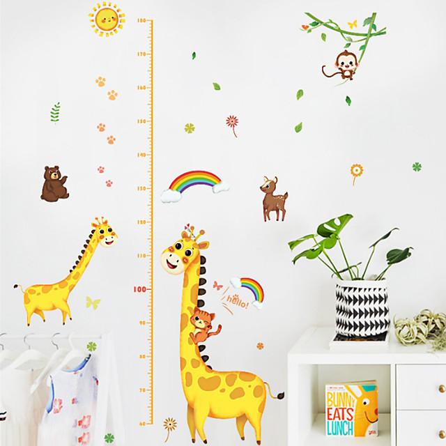 Kids Height Chart Wall Sticker Decor Cartoon Giraffe Height Ruler Wall Stickers Home Room Decoration Wall Art Sticker Poster 150x78cm