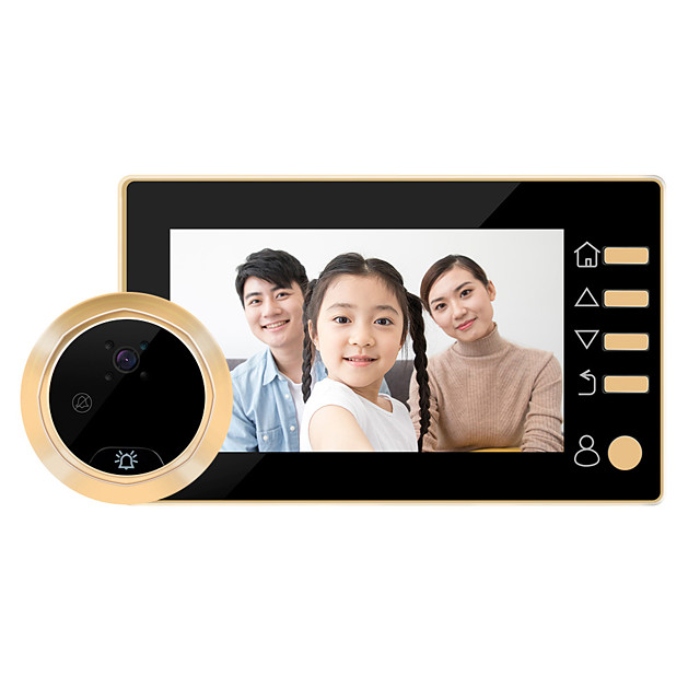 4.3-inch High-definition Intelligent Electronic Cat's Eyes Large-angle Video Doorbell Built-in Lithium Battery One-click Video Recording Long Standby