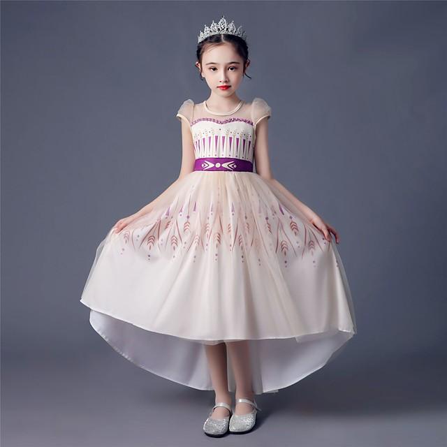 Princess Anna Dress Flower Girl Dress Girls' Movie Cosplay A-Line Slip Beige Dress Children's Day Masquerade Tulle Polyester