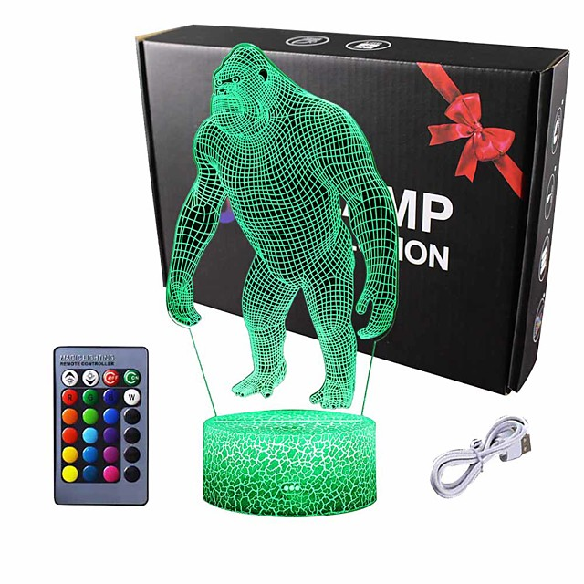 Night Lights for Kids 3D Orangutan LED Night Lamp 16 Colors Changing Touch Switch USB Power Or Battery Powered Baby Adult Christmas Gift Bar Living Room Bedroom Decor