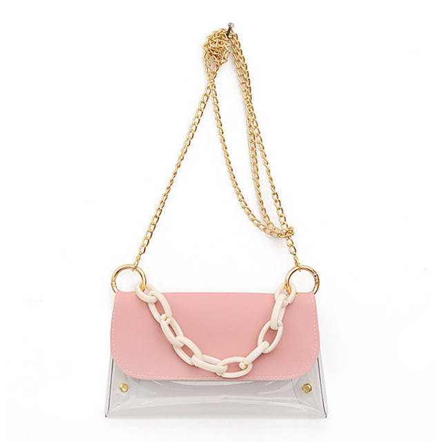 Women's Chain PU Leather / PVC Top Handle Bag Leather Bags Solid Color White / Black / Blue / Fall & Winter