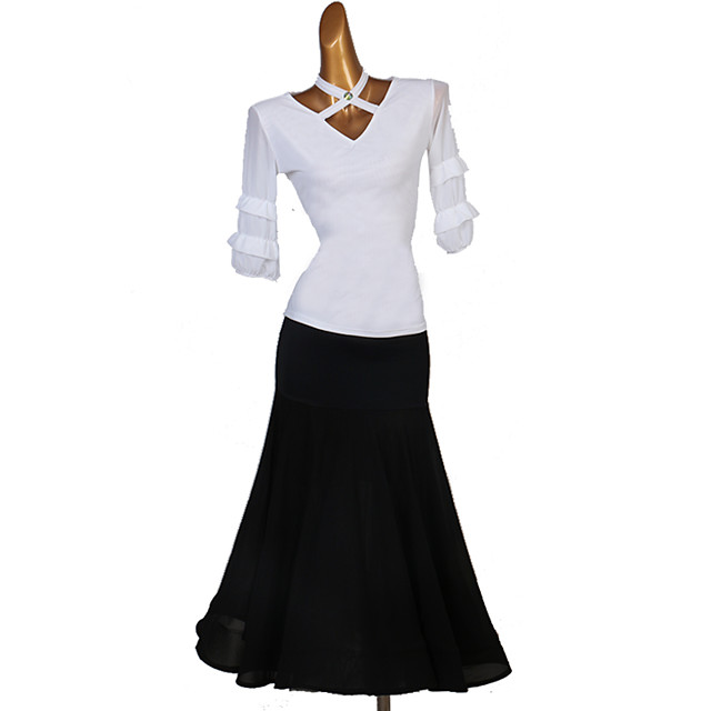 Ballroom Dance Skirts Ruching Women's Performance Half Sleeve High Spandex