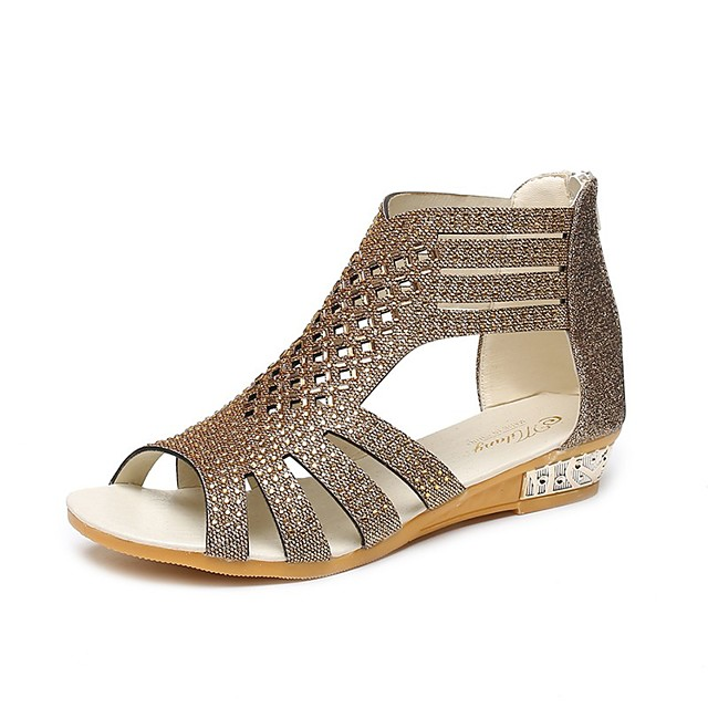 Women's Sandals Wedge Sandals 2020 Summer Wedge Heel Open Toe Casual Roman Shoes Daily Home Rhinestone Faux Leather Black / Gold / Beige
