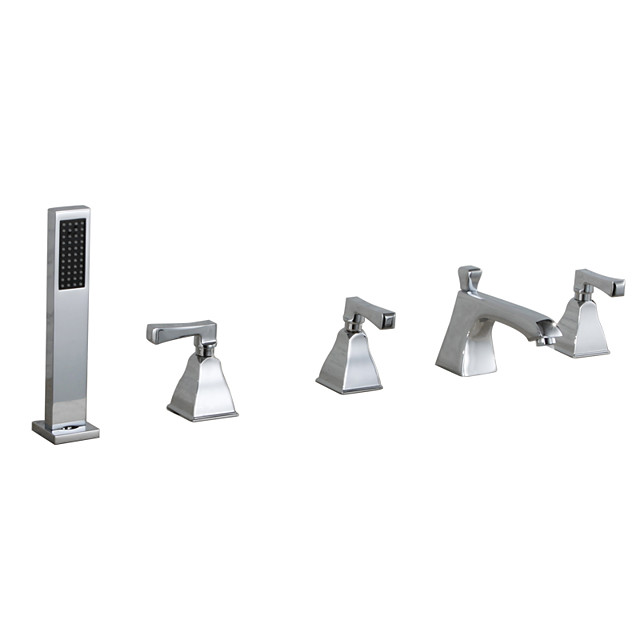 Bathtub Faucet - Contemporary Chrome Tub And Shower Ceramic Valve Bath Shower Mixer Taps