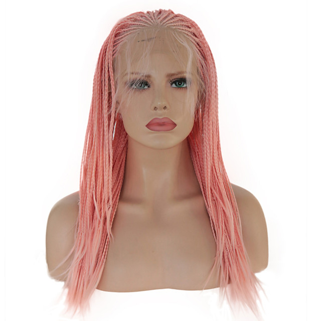 Synthetic Lace Front Wig Box Braids Plaited with Baby Hair Lace Front Wig Pink Long Pink Synthetic Hair 16 inch Women's Soft Party Women Pink
