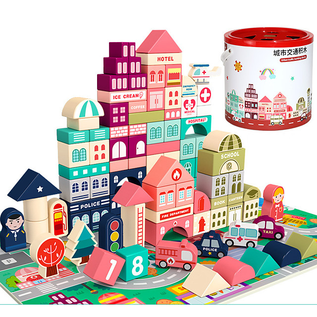 Building Blocks Wooden Blocks Building Kit Construction Set Toys DIY Toys Architecture House City compatible Wooden Legoing Creative DIY Parent-Child Interaction Boys and Girls Toy Gift / Kid's