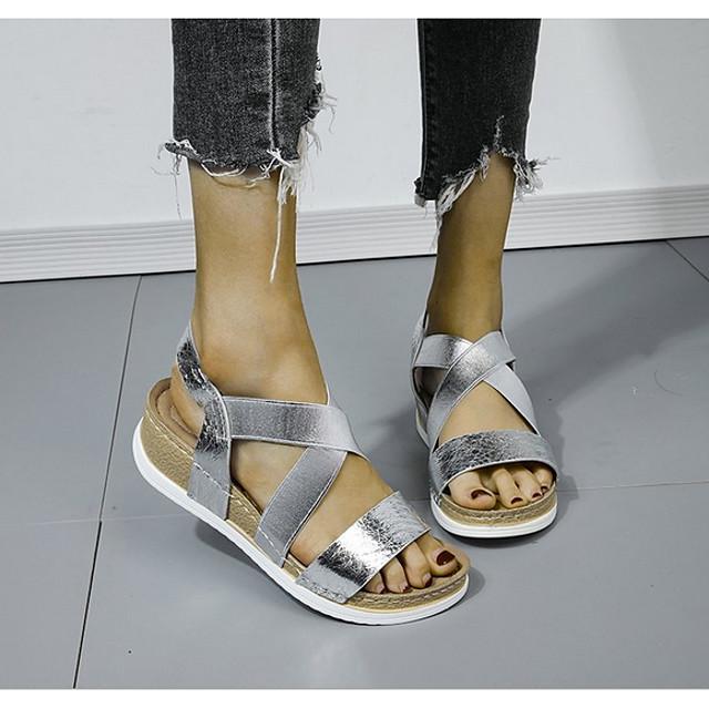 Women's Sandals Wedge Sandals Flat Sandal Summer Wedge Heel Peep Toe Daily PU Black / Gold / Silver