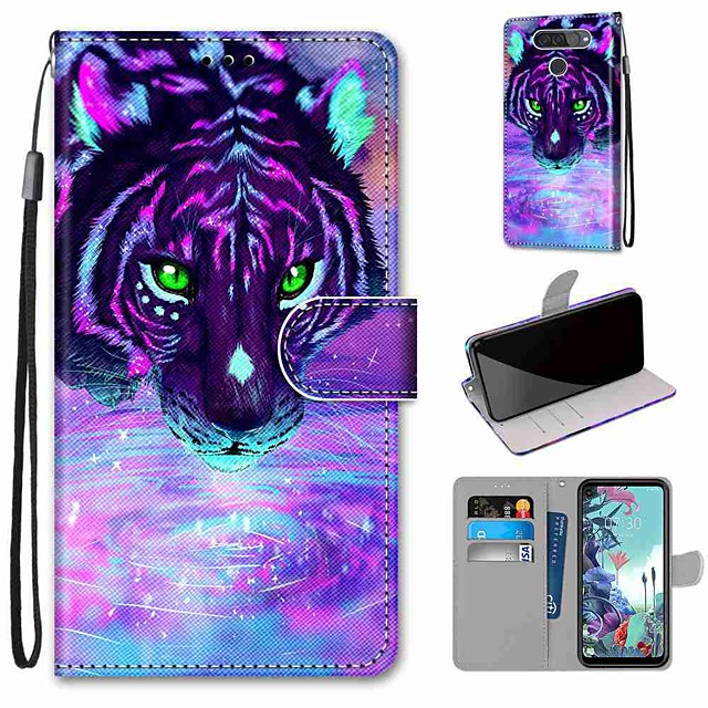 Case For LG Q70 / LG K50S / LG K40S Wallet / Card Holder / with Stand Full Body Cases Tiger Drinking Water PU Leather / TPU for LG K30 2019 / LG K20 2019