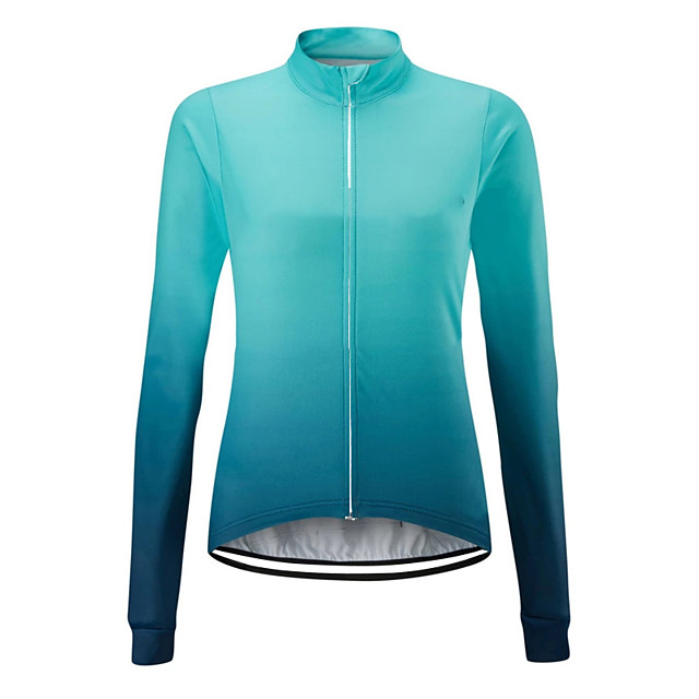 21Grams Women's Long Sleeve Cycling Jersey Spandex Polyester Orange Blue Gradient Bike Jersey Top Mountain Bike MTB Road Bike Cycling UV Resistant Breathable Quick Dry Sports Clothing Apparel