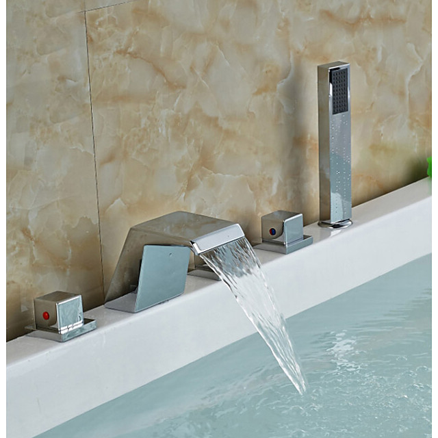 Bathtub Faucet - Contemporary Chrome Roman Tub Ceramic Valve Bath Shower Mixer Taps