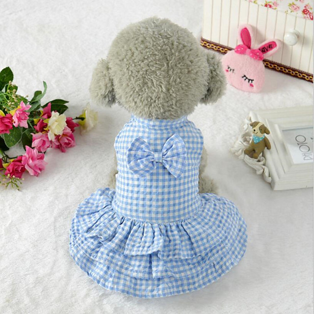 Dog Cat Dress Plaid / Check Solid Colored Casual / Sporty Cute Dog Clothes Blue Pink Costume Fabric S M L