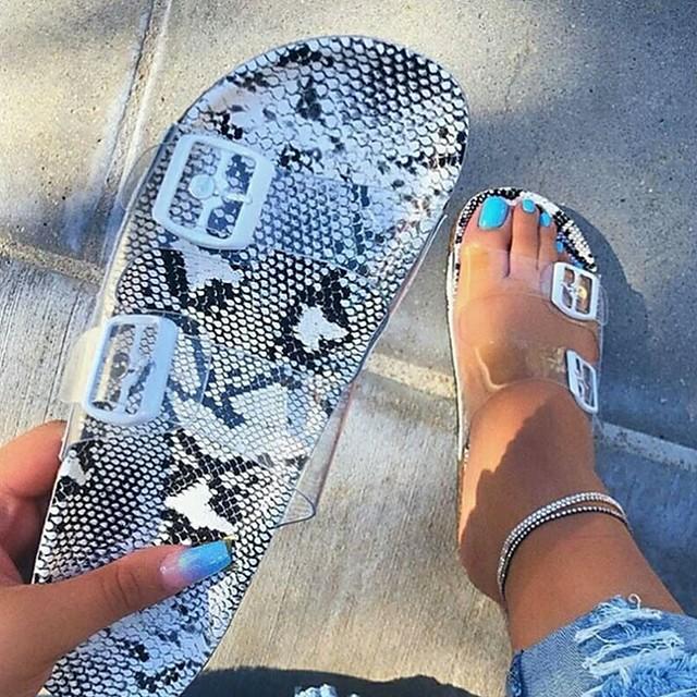Women's Sandals / Slippers & Flip-Flops Flat Sandal Summer Flat Heel Open Toe Daily PU Black / Yellow / Red